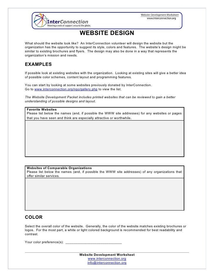 Worksheets Worksheet Websites website development worksheet website