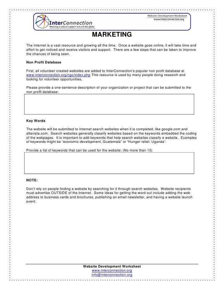 Website Development Worksheet