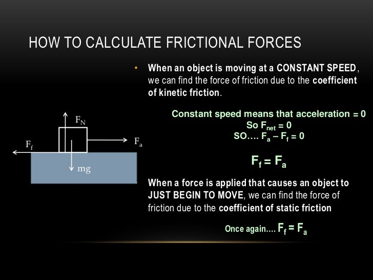 HOW TO CALCULATE FRICTIONAL FORCES             • When an object is moving at a CONSTANT SPEED,               we can find t...