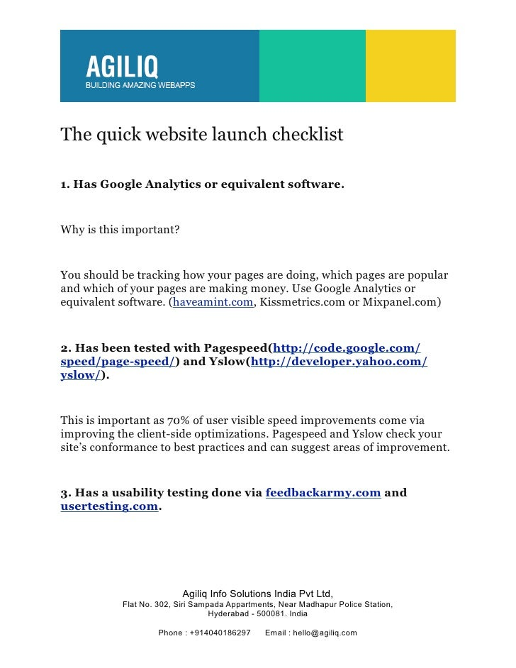 The quick website launch checklist1. Has Google Analytics or equivalent software.Why is this important?You should be track...