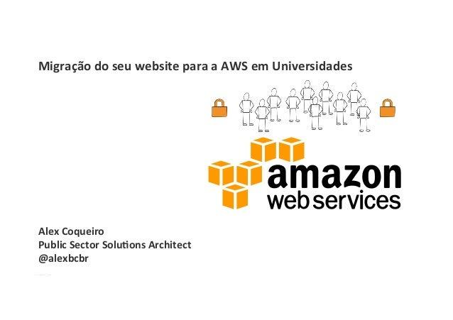 Alex  Coqueiro   Public  Sector  Solu1ons  Architect   @alexbcbr   Migração  do  seu  website  para...