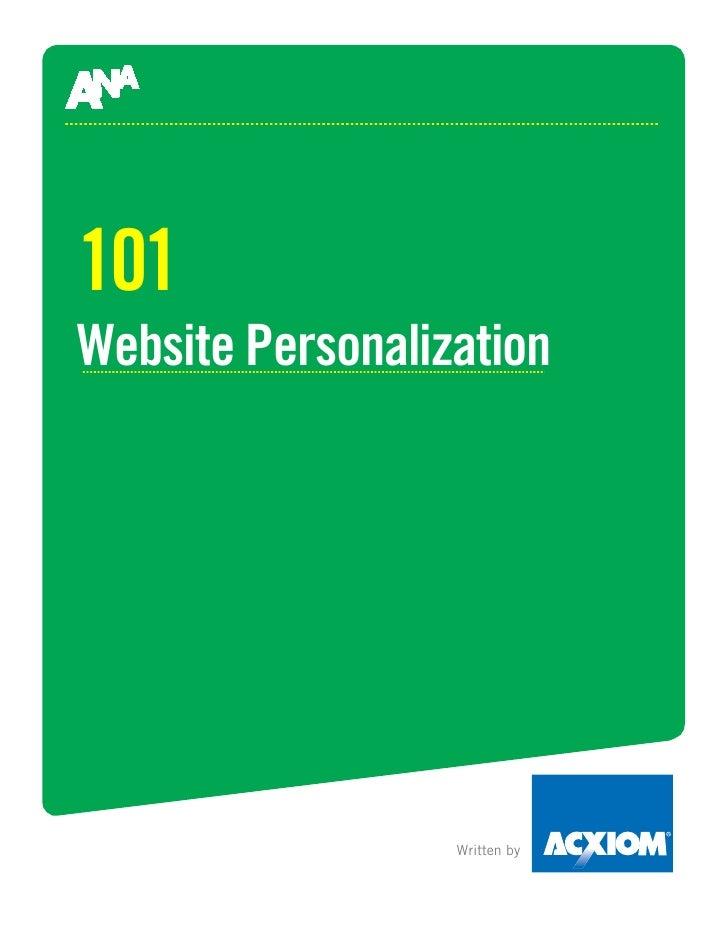 101 Website Personalization                       Written by