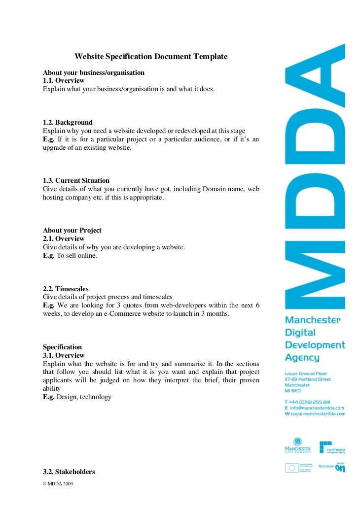 Website specification template v2 feb 09 for Functional design document template
