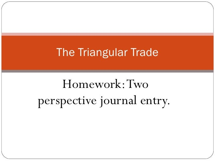 Homework: Two perspective journal entry.  The Triangular Trade