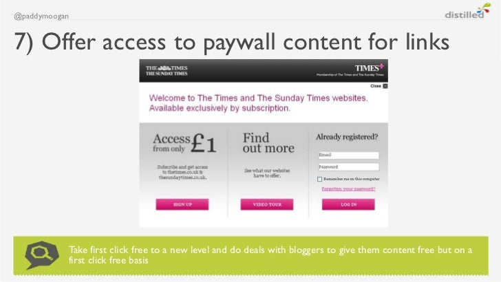 @paddymoogan7) Offer access to paywall content for links           Take first click free to a new level and do deals with ...