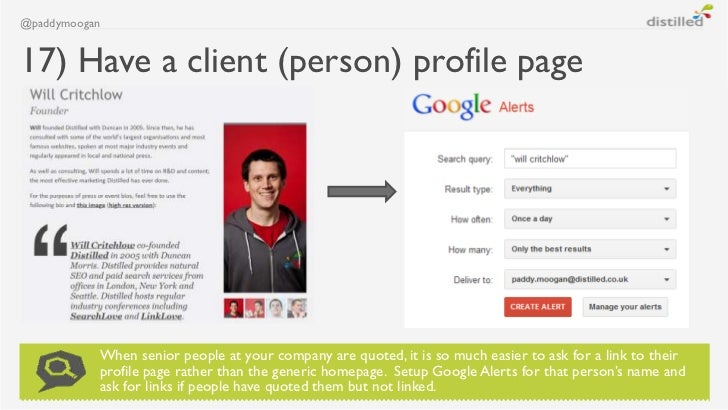 @paddymoogan17) Have a client (person) profile page           When senior people at your company are quoted, it is so much...