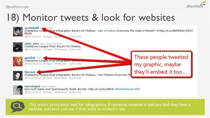 @paddymoogan18) Monitor tweets & look for websites           This works particularly well for infographics, if someone twe...