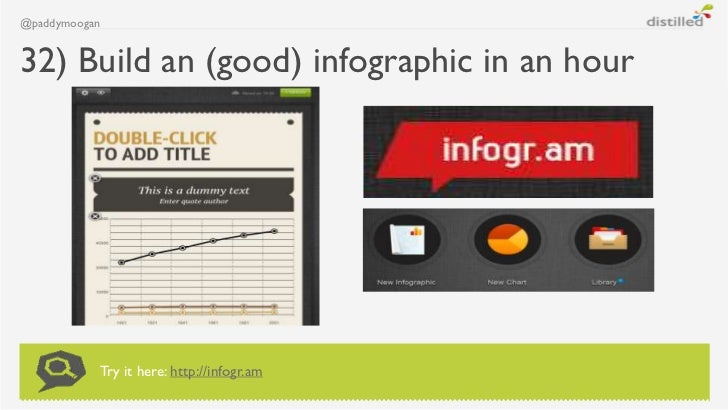 @paddymoogan32) Build an (good) infographic in an hour           Try it here: http://infogr.am