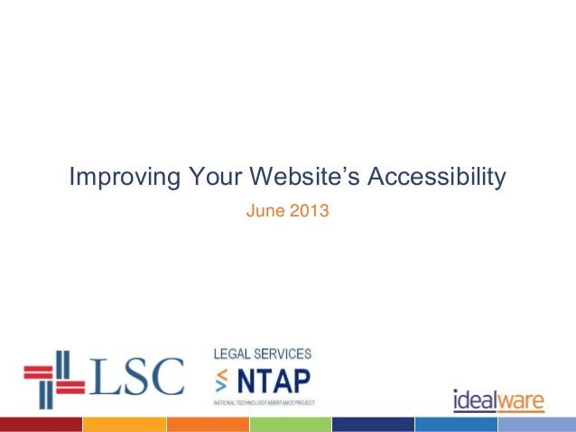 Improving Your Website's AccessibilityJune 2013