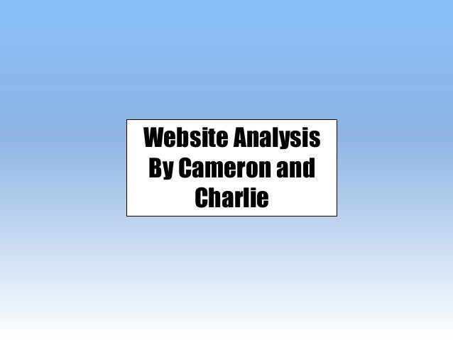 Website Analysis By Cameron and Charlie