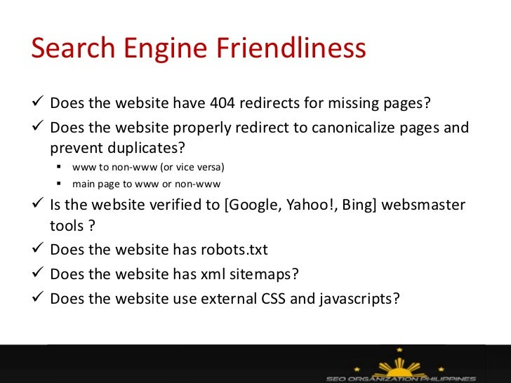 morcon 2011 presentation website analysis seo best practices