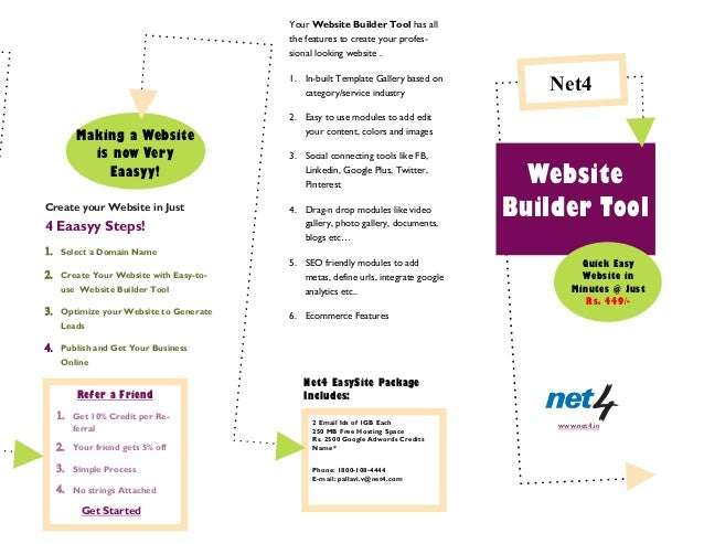 Create your Website in Just4 Eaasyy Steps! Select a Domain Name Create Your Website with Easy-to-use Website Builder T...