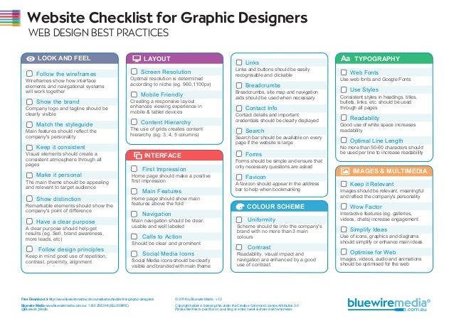 Website Checklist for Graphic Designers WEB DESIGN BEST PRACTICES LOOK AND FEEL LAYOUT INTERFACE COLOUR SCHEME IMAGES & MU...