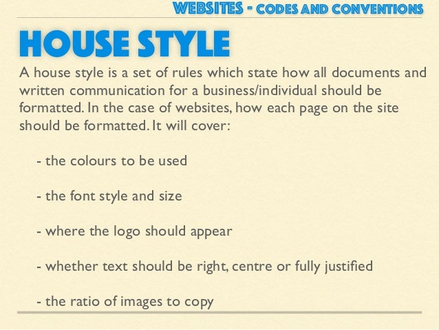 Website codes and conventions for House style examples