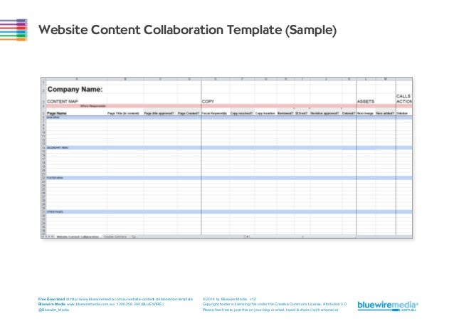Website Content Collaboration Template (Sample)  Free Download at http://www.bluewiremedia.com.au/website-content-collabor...