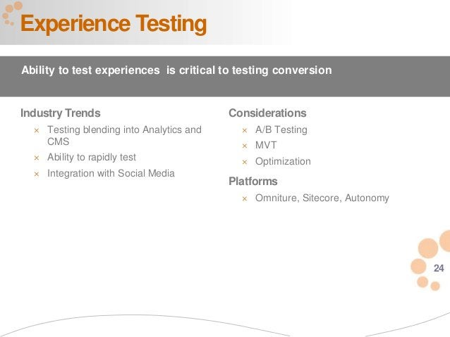 24 Industry Trends  Testing blending into Analytics and CMS  Ability to rapidly test  Integration with Social Media Exp...