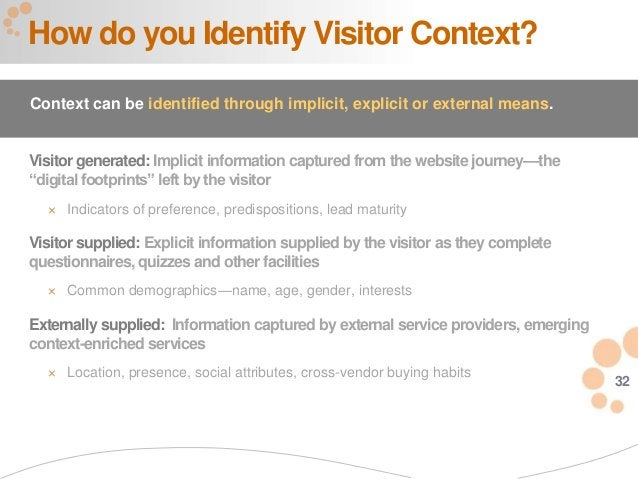 """32 Visitor generated: Implicit information captured from the website journey—the """"digital footprints"""" left by the visitor ..."""
