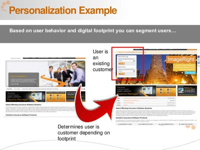 35 Personalization Example Based on user behavior and digital footprint you can segment users… Determines user is customer...