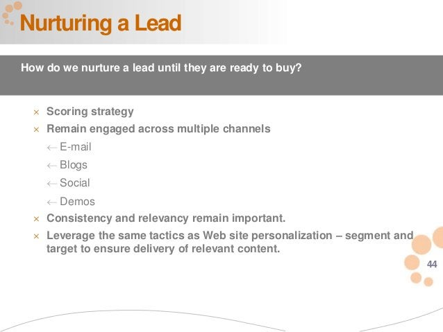 44 Nurturing a Lead How do we nurture a lead until they are ready to buy?  Scoring strategy  Remain engaged across multi...