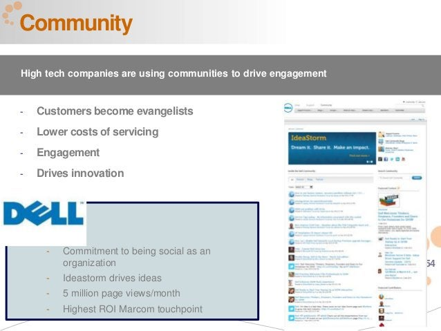 54 - Customers become evangelists - Lower costs of servicing - Engagement - Drives innovation DELL - Commitment to being s...