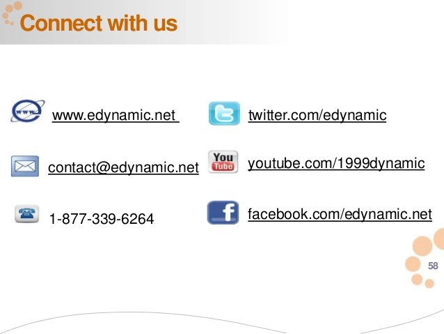 58 Connect with us 1-877-339-6264 www.edynamic.net contact@edynamic.net twitter.com/edynamic youtube.com/1999dynamic faceb...
