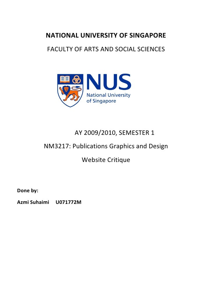 NATIONAL UNIVERSITY OF SINGAPORE             FACULTY OF ARTS AND SOCIAL SCIENCES                         AY 2009/2010, SEM...