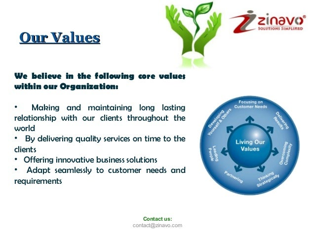 Our Values We believe in the following core values within our Organization: • Making and maintaining long lasting relation...