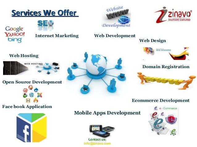 Services We Offer Internet Marketing  Web Development Web Design  Web Hosting Domain Registration Open Source Development ...