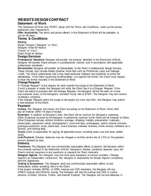Web design agreement template efcaviation web design agreement template sample web design contract ferrigon mediarhslideshare platinumwayz
