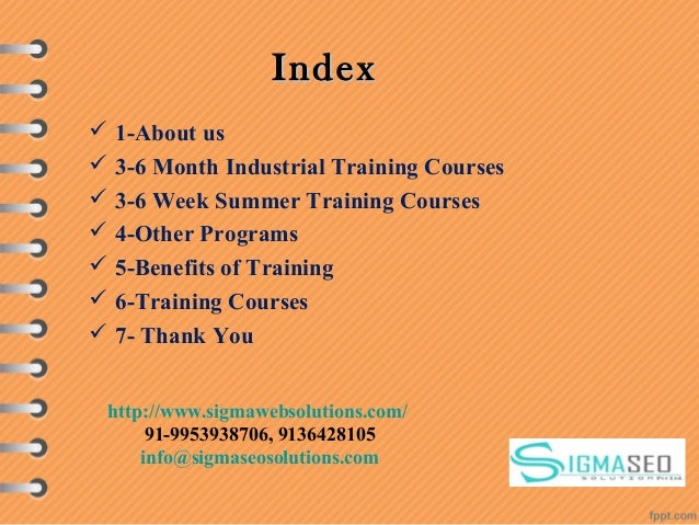IndexIndex  1-About us  3-6 Month Industrial Training Courses  3-6 Week Summer Training Courses  4-Other Programs  5-...