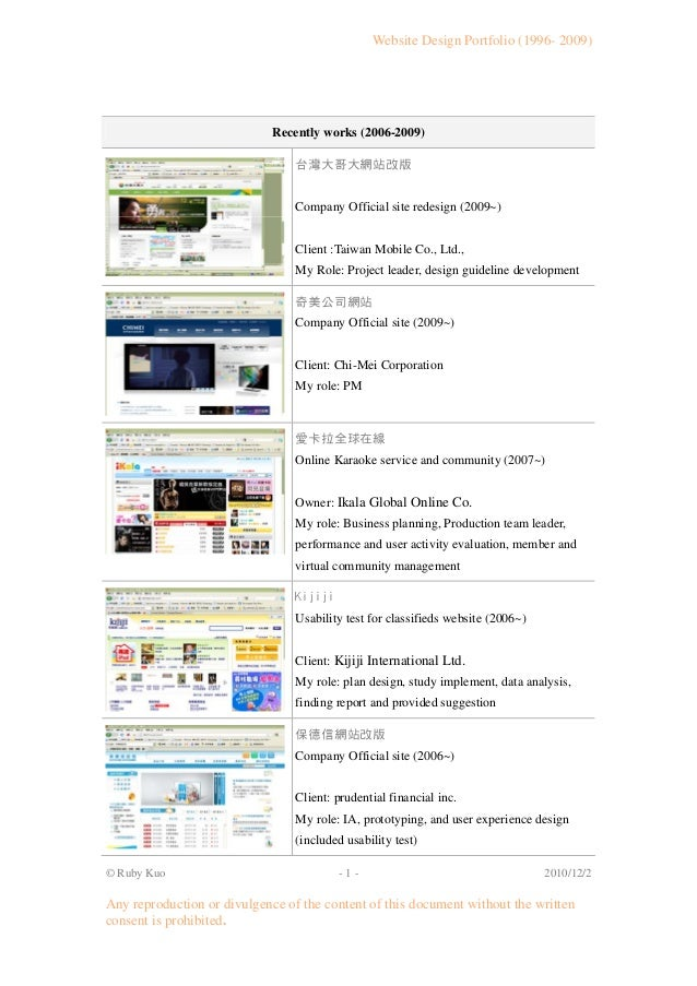 Website Design Portfolio (1996- 2009) © Ruby Kuo - 1 - 2010/12/2 Any reproduction or divulgence of the content of this doc...