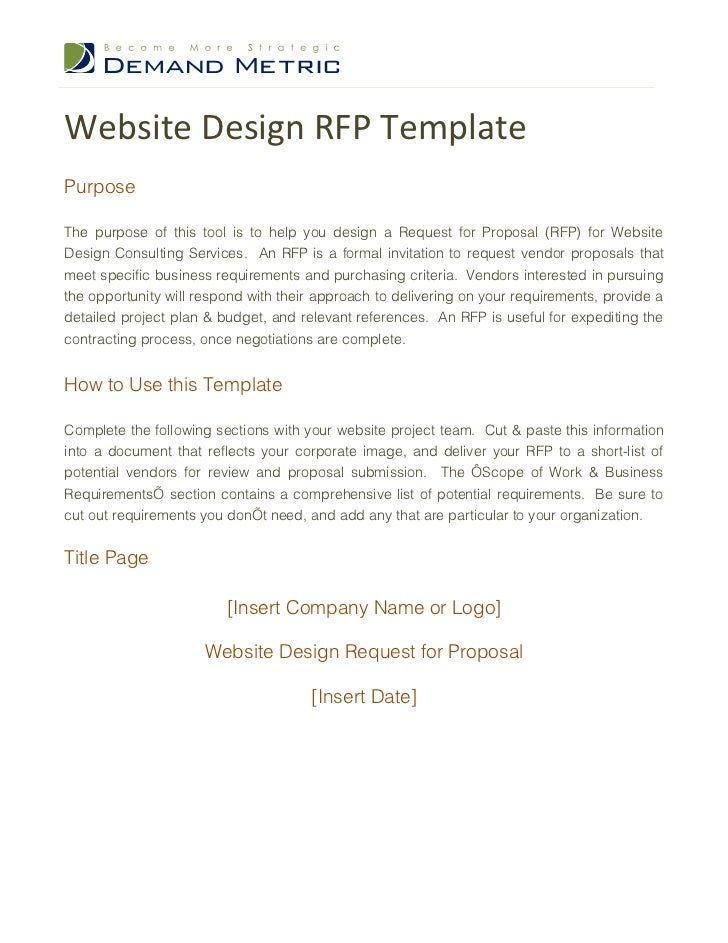 request for bids template - website design rfp template
