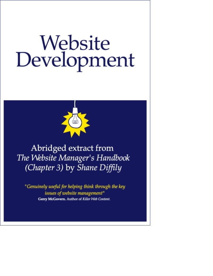 "The Website Manager's HandbookThe Website Manager's HandbookThis document contains an abridged extract from ""Chapter 3: We..."