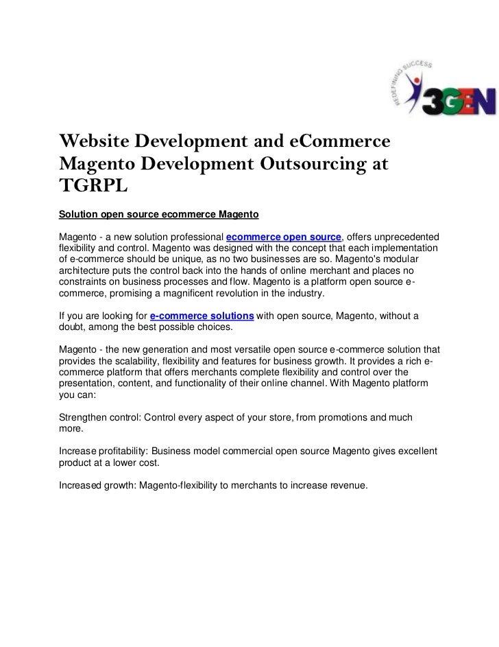 Website Development and eCommerceMagento Development Outsourcing atTGRPLSolution open source ecommerce MagentoMagento - a ...