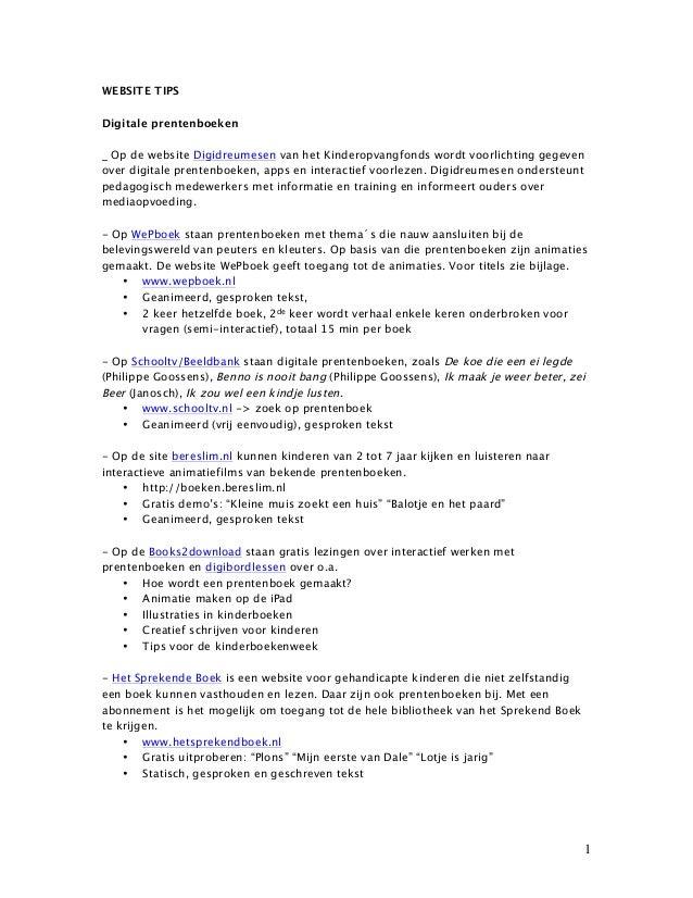 WEBSITE TIPS Digitale prentenboeken _ Op de website Digidreumesen van het Kinderopvangfonds wordt voorlichting gegeven ove...