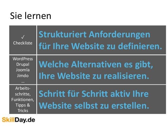 Sie lernen Welche Alternativen es gibt, Ihre Website zu realisieren. Strukturiert Anforderungen für Ihre Website zu defini...