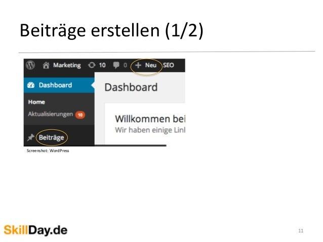 Beiträge erstellen (1/2) 11 Screenshot: WordPress