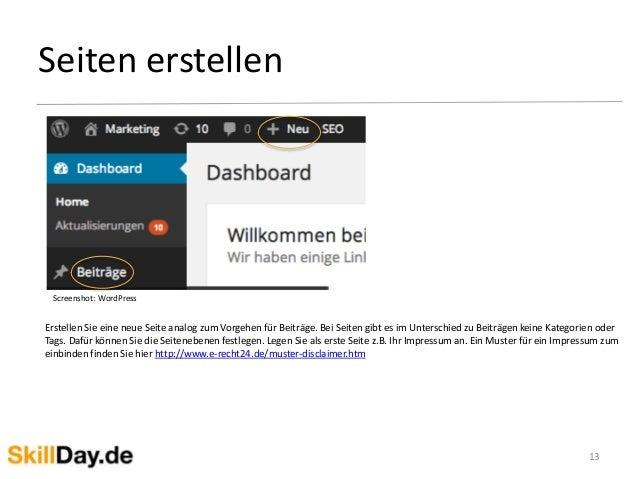 Seiten erstellen 13 Screenshot: WordPress Erstellen Sie eine neue Seite analog zum Vorgehen für Beiträge. Bei Seiten gibt ...