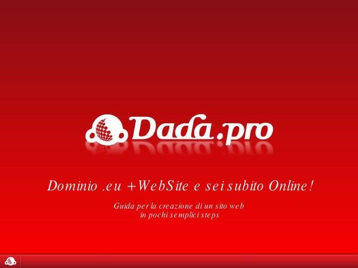 Dominio .eu + WebSite e sei subito Online! Guida per la creazione di un sito web  in pochi semplici steps