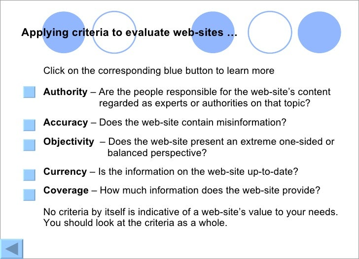 web site evaluation