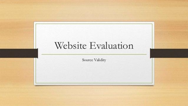 Website Evaluation Source Validity