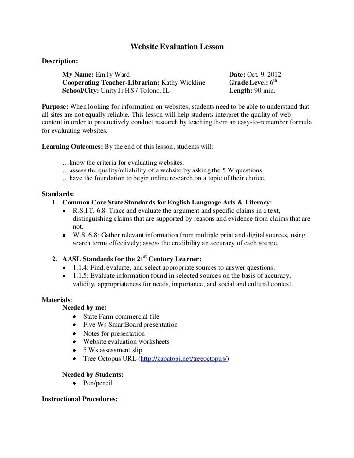 Worksheets Worksheet Websites website evaluation lesson 1 728 jpgcb1349960470 lessondescription my name emily ward