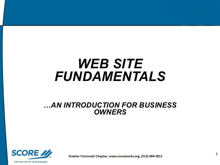 Master Slide  WEB SITE FUNDAMENTALS … AN INTRODUCTION   FOR BUSINESS OWNERS