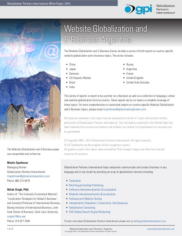 Globalization Partners International White Paper | 2014  Website Globalization and E-Business Argentina The Website Global...