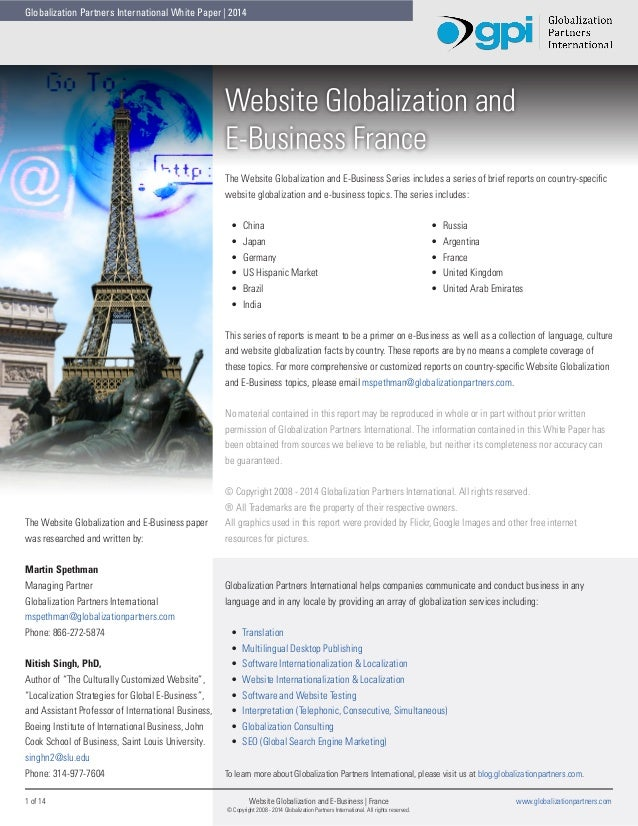 Globalization Partners International White Paper | 2014  Website Globalization and E-Business France The Website Globaliza...