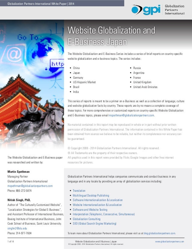 Globalization Partners International White Paper | 2014  Website Globalization and E-Business Japan The Website Globalizat...