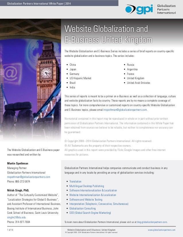 Globalization Partners International White Paper   2014  Website Globalization and E-Business United Kingdom The Website G...