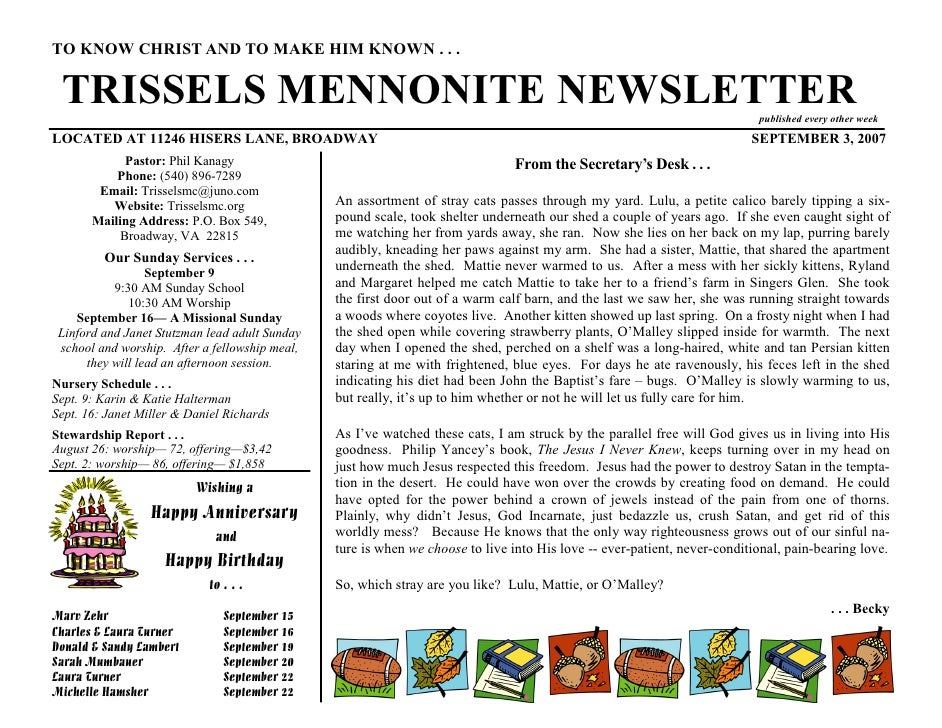 TO KNOW CHRIST AND TO MAKE HIM KNOWN . . .   TRISSELS MENNONITE NEWSLETTER                                                ...