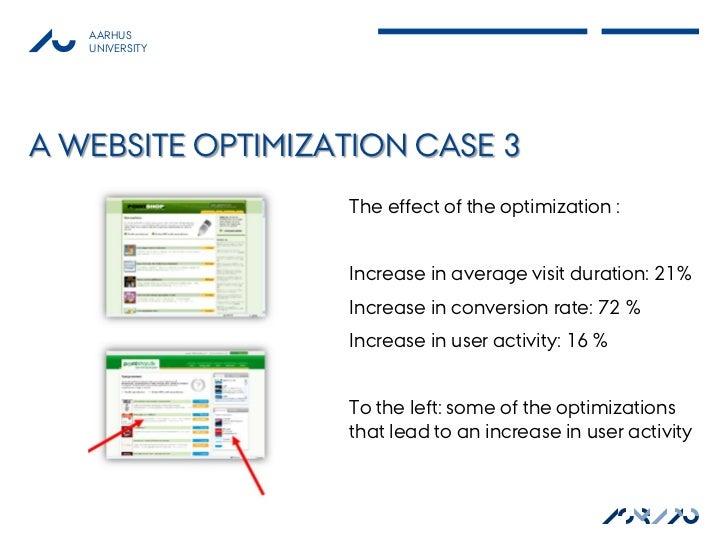 AARHUS   UNIVERSITYA WEBSITE OPTIMIZATION CASE 3                  The effect of the optimization :                  Increa...