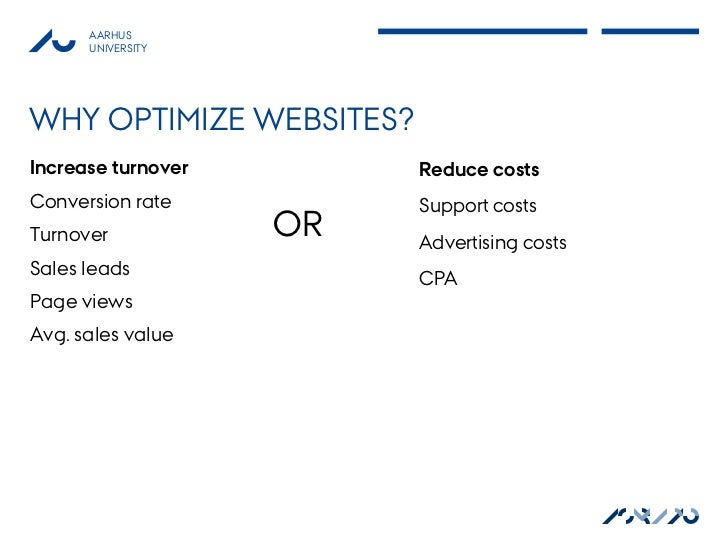 AARHUS      UNIVERSITYWHY OPTIMIZE WEBSITES?Increase turnover        Reduce costsConversion rate          Support costsTur...